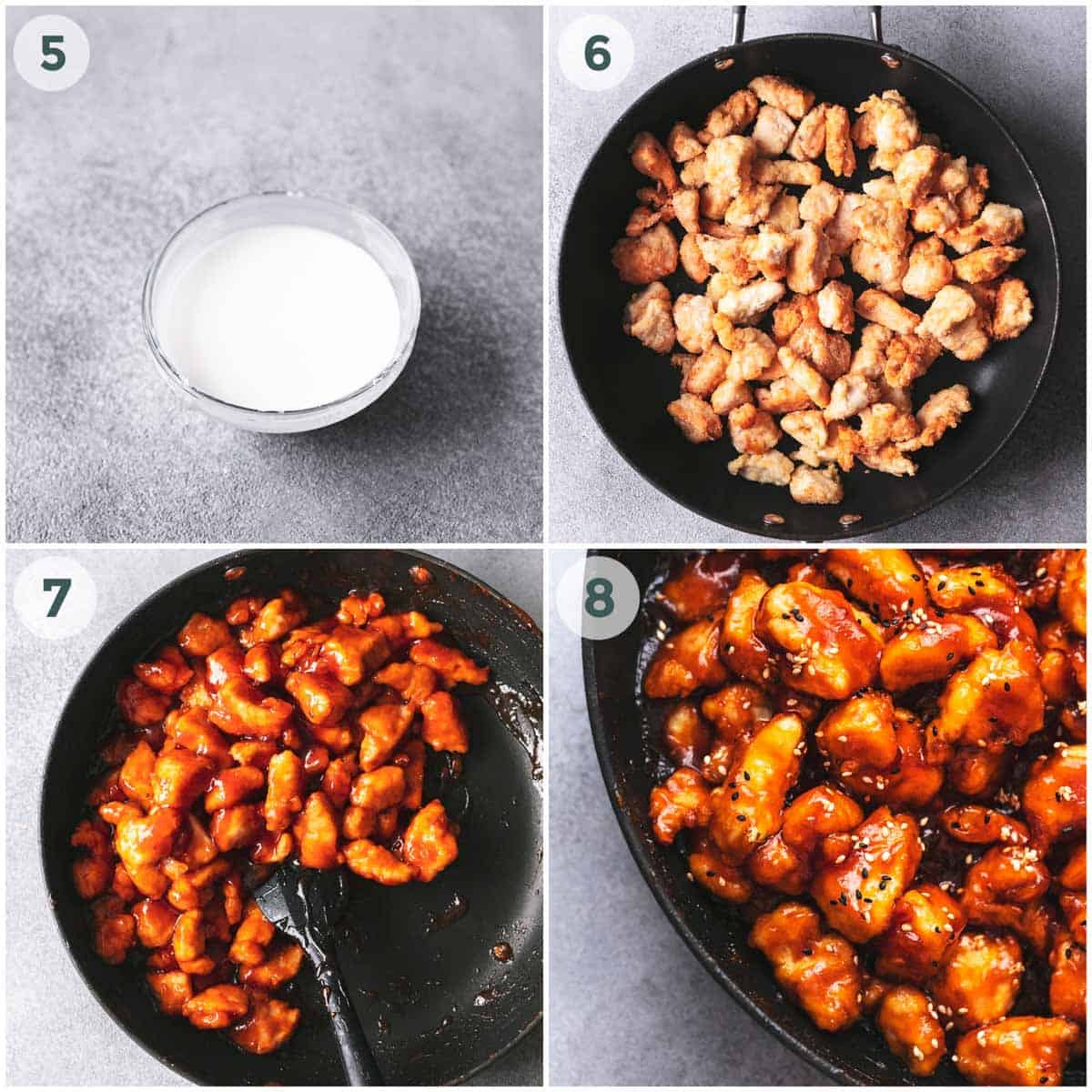 collage of four images showing sesame chicken preparation