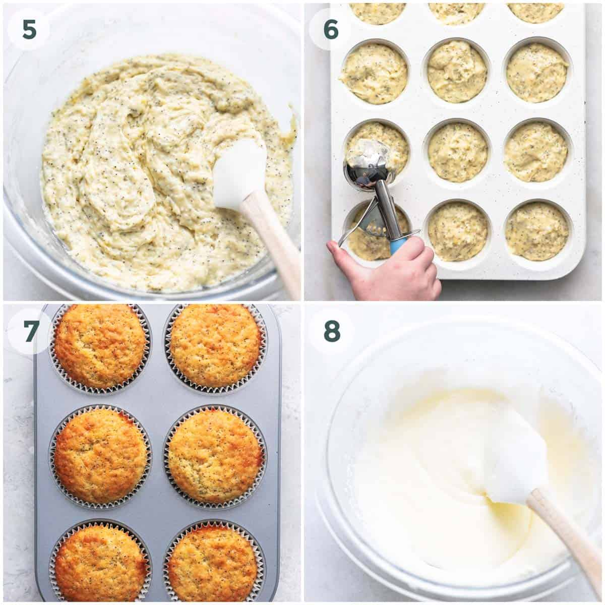 collage of four images depicting preparation of muffin batter