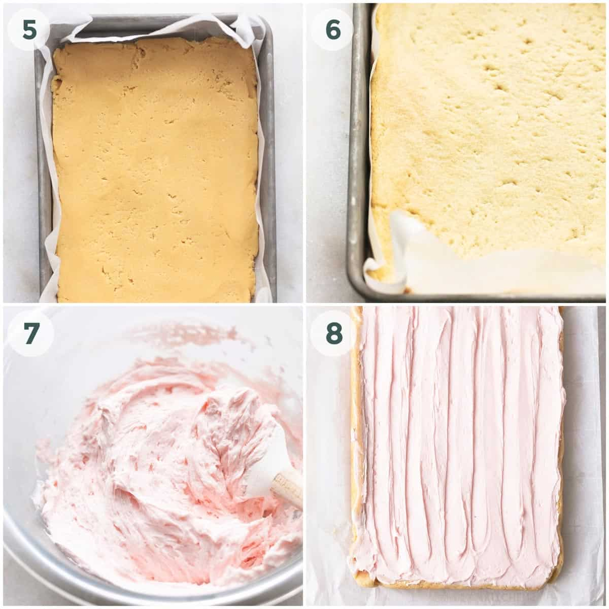 collage showing preparation for sugar cookie bars with pink frosting.