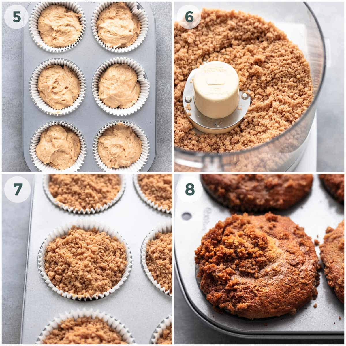collage of four images showing step step preparation of muffins
