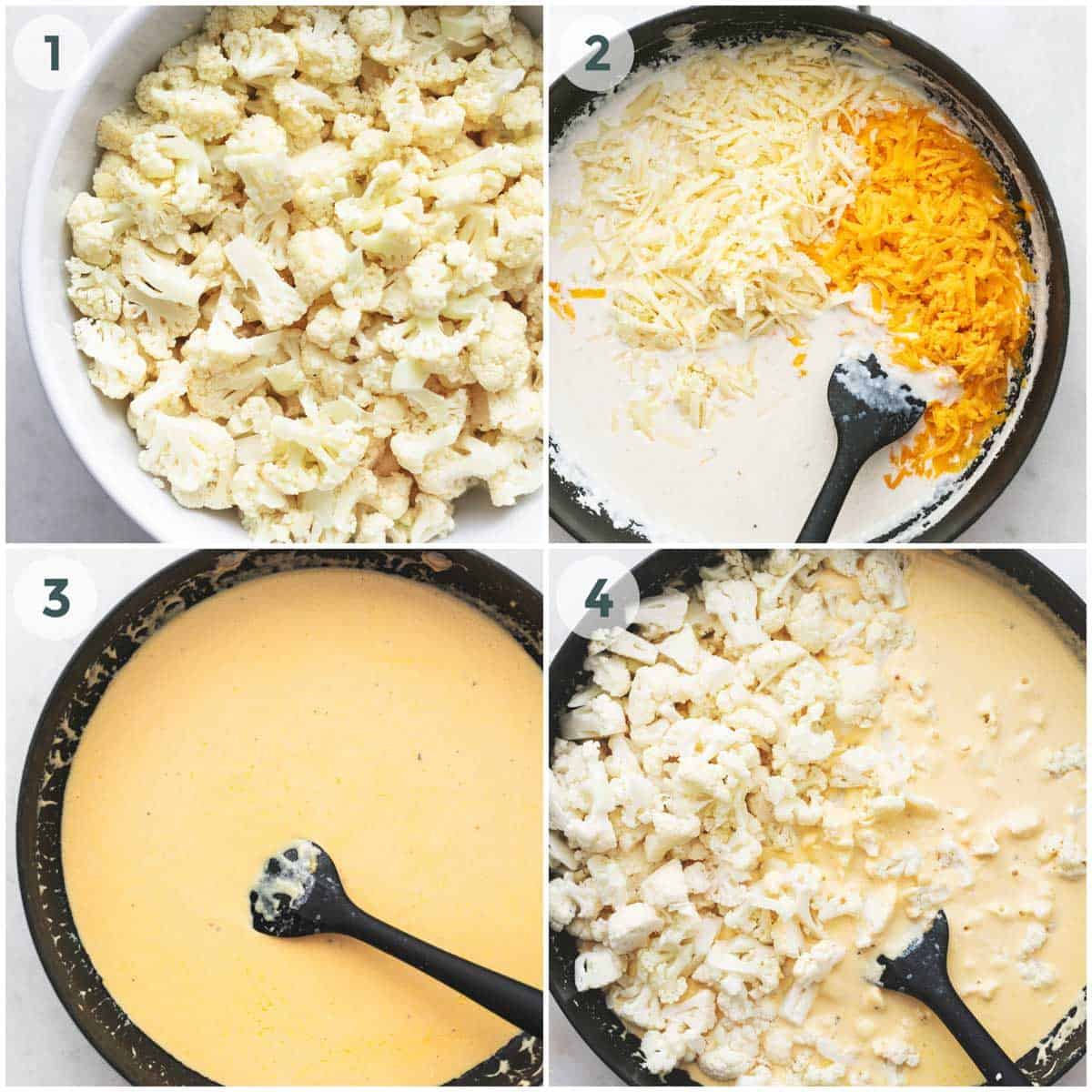collage of four images showing preparation for baked cauliflower mac and cheese