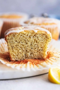 up close view of cross section of lemon poppy seed muffin