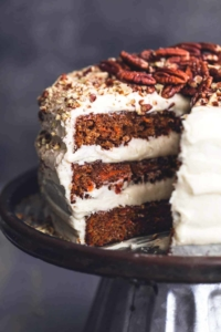 three layer carrot cake with cream cheese frosting