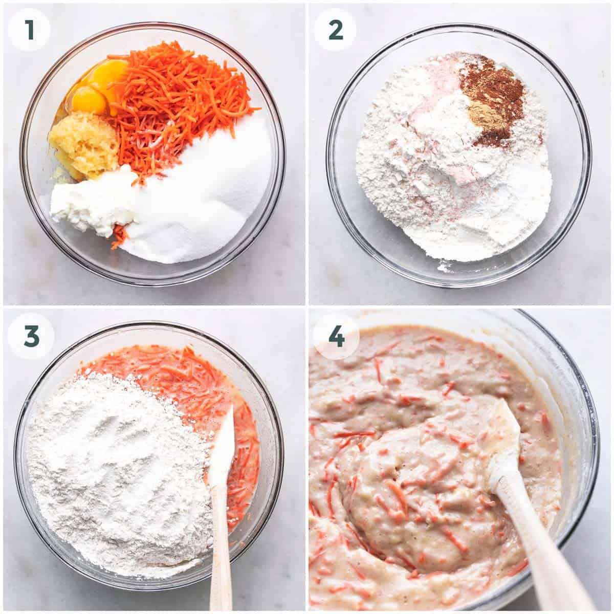 collage of four steps of preparation of batter in bowl