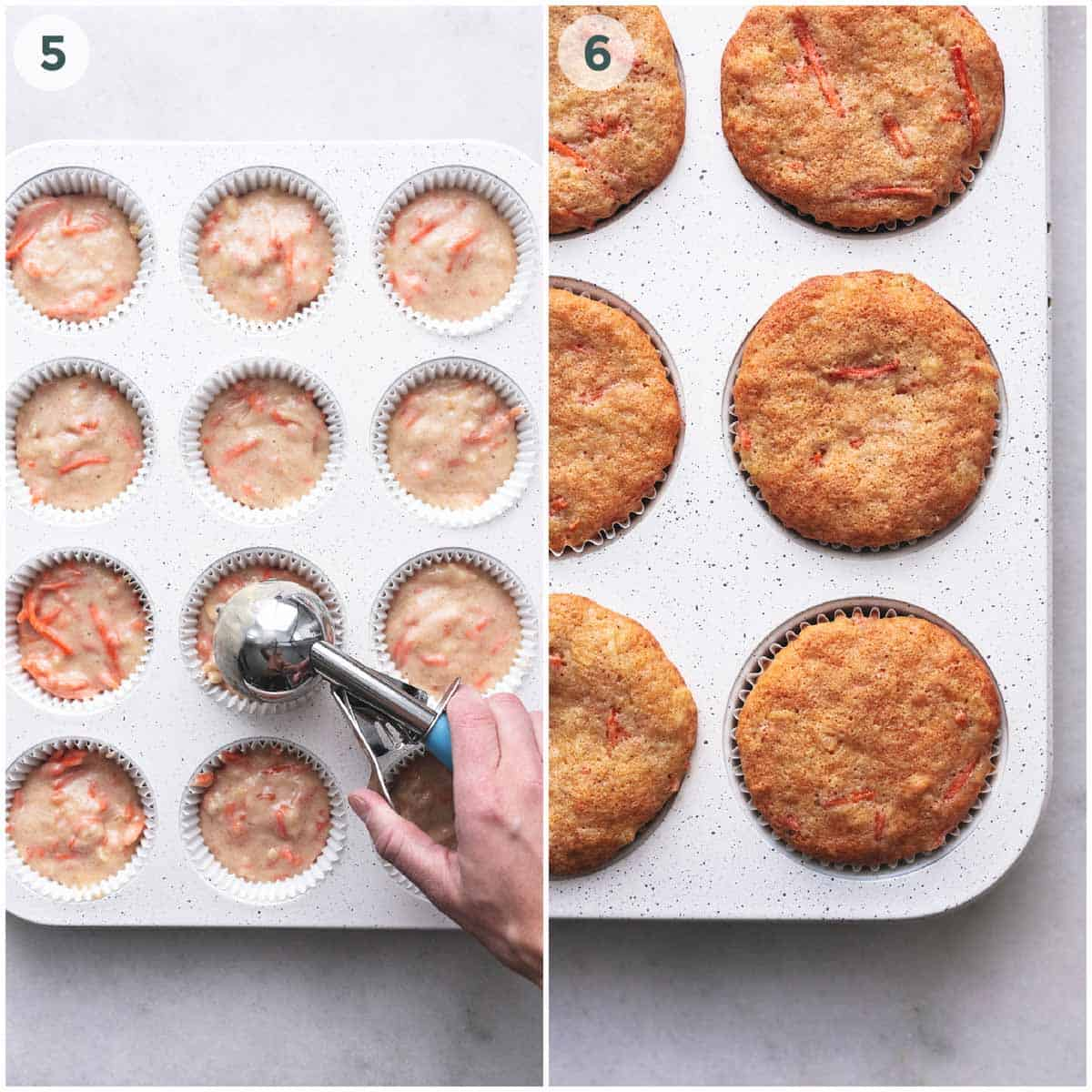 two side by side images showing cupcake batter and baked cupcakes in muffin tin