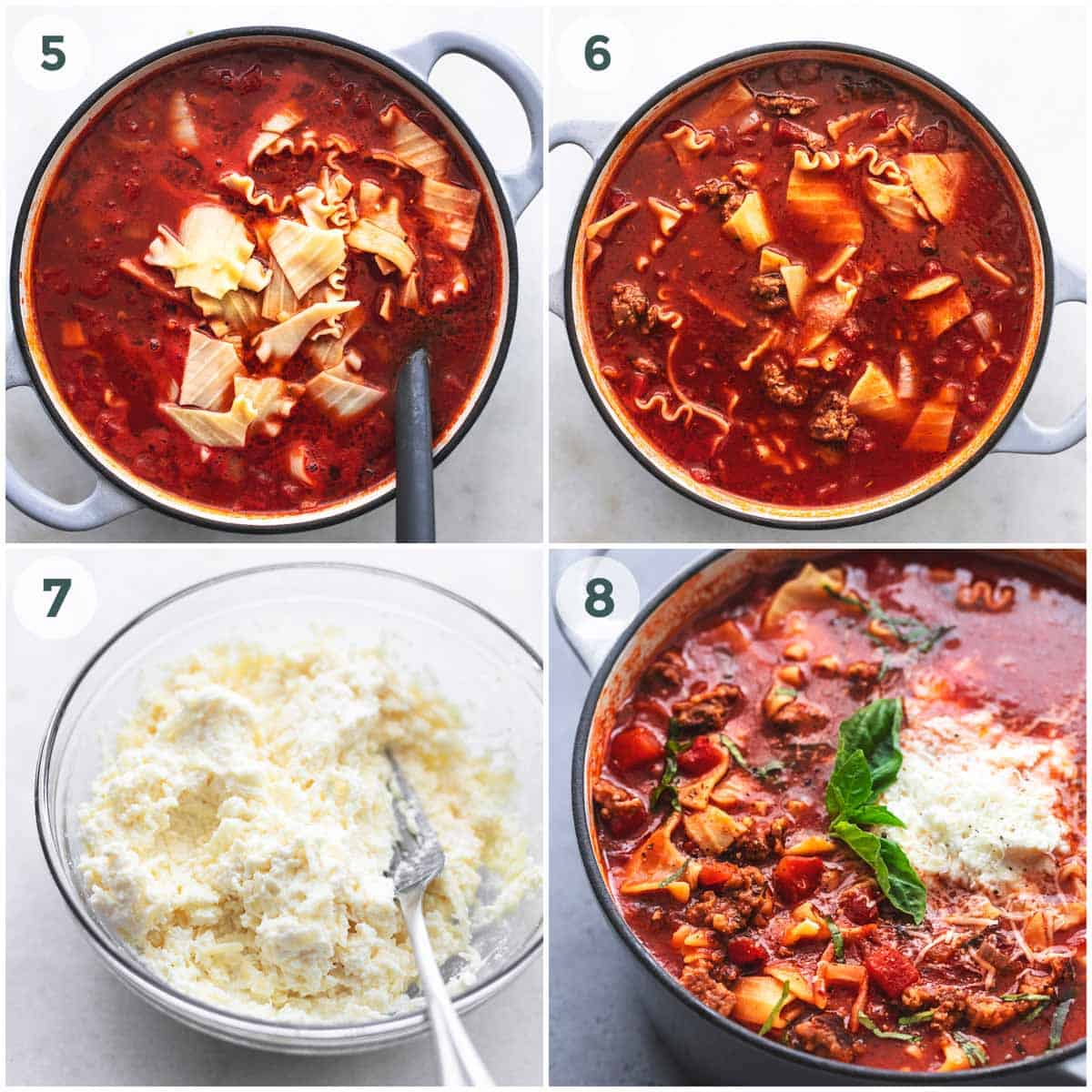 collage of lasagna soup prep.