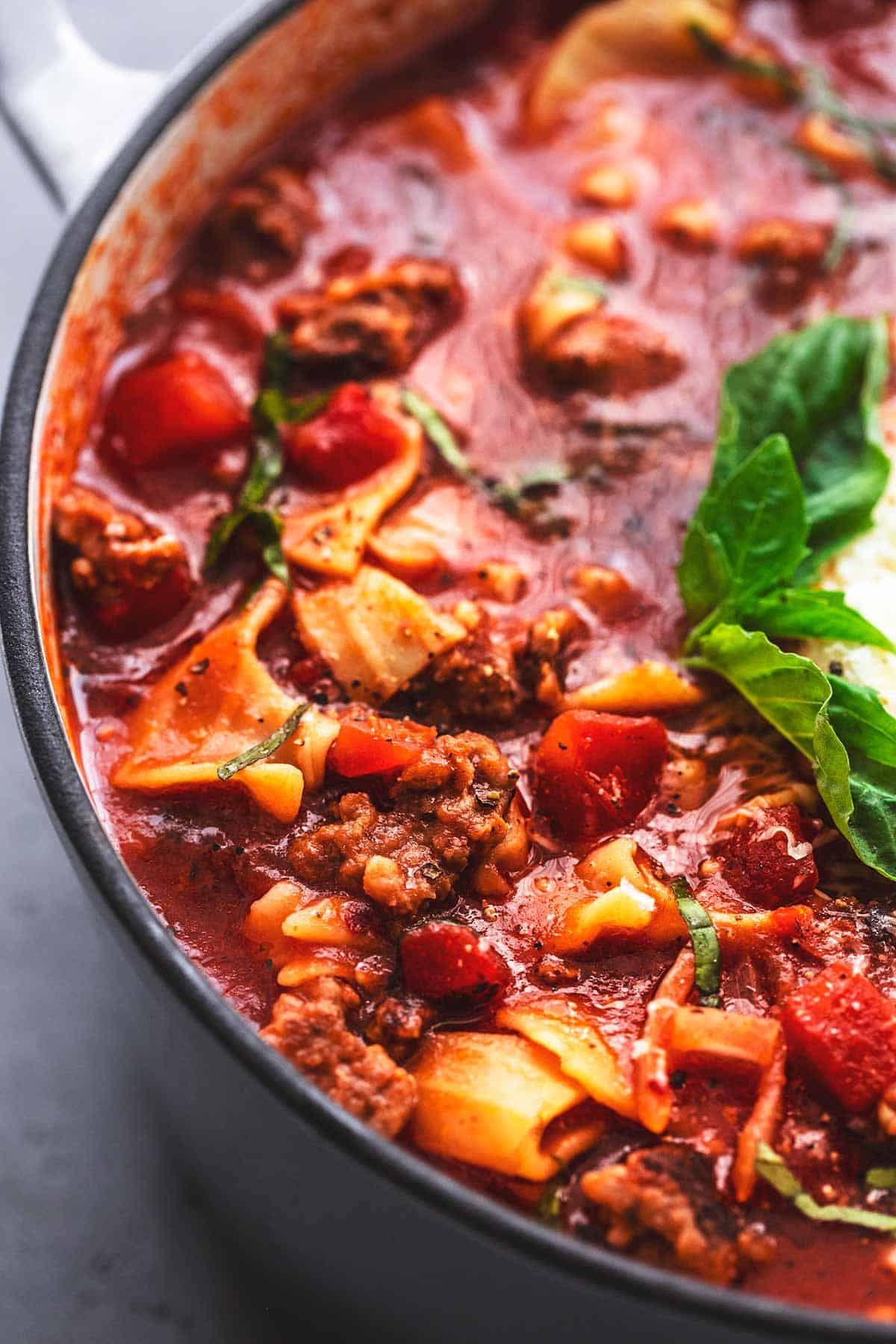 up close view of lasagna soup in pot
