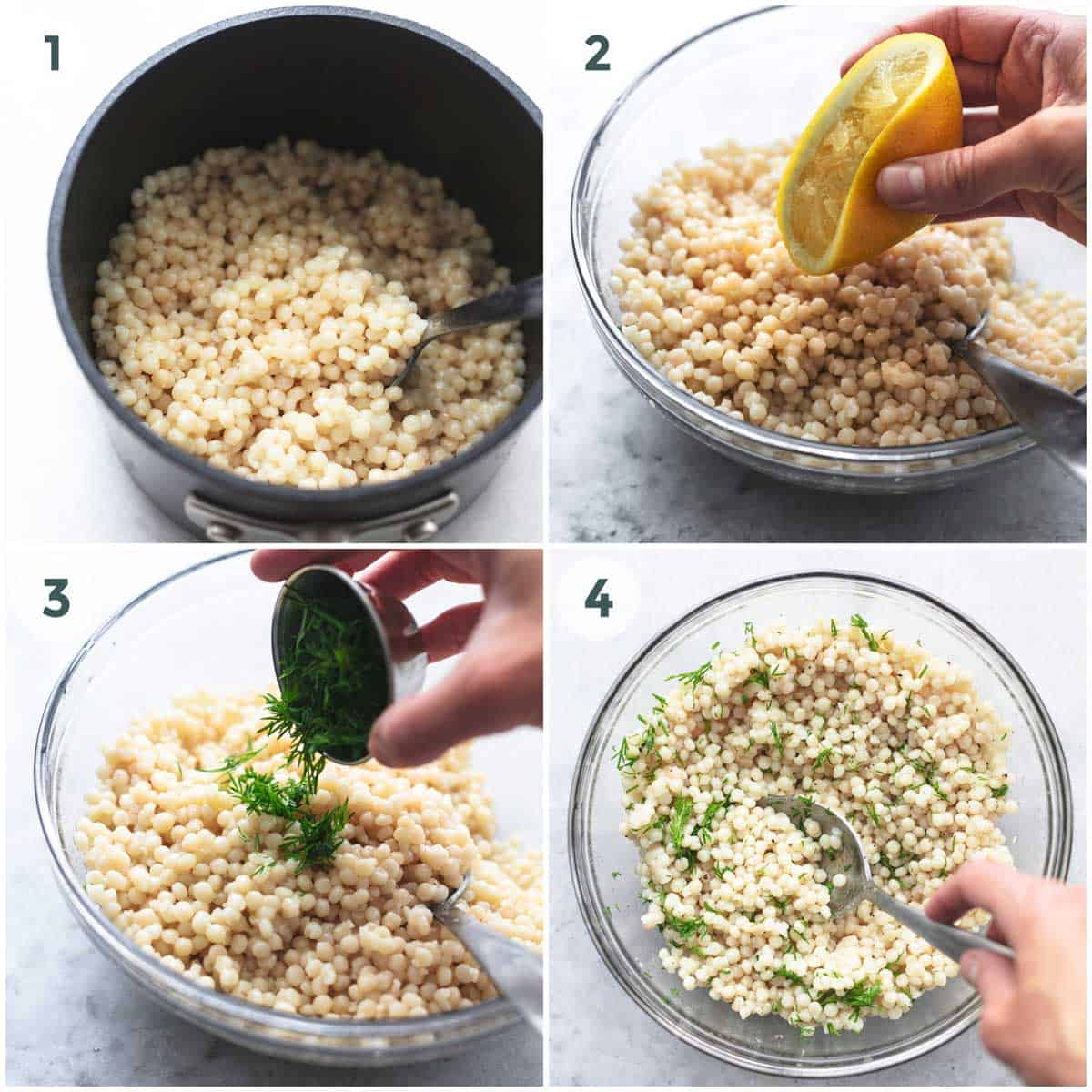 collage of lemon couscous being made.
