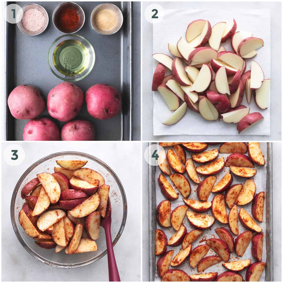 collage of four images showing step by step directions for baking potato wedges