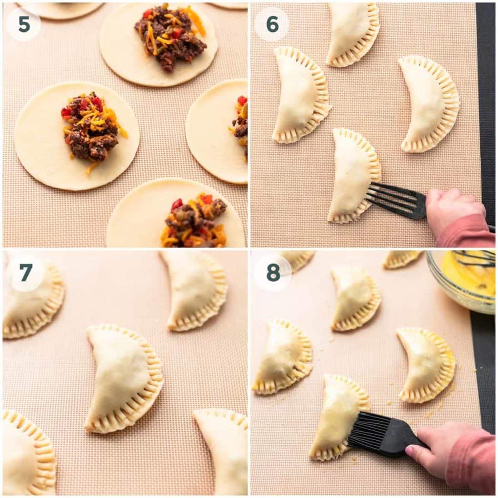 four steps of preparing empanadas