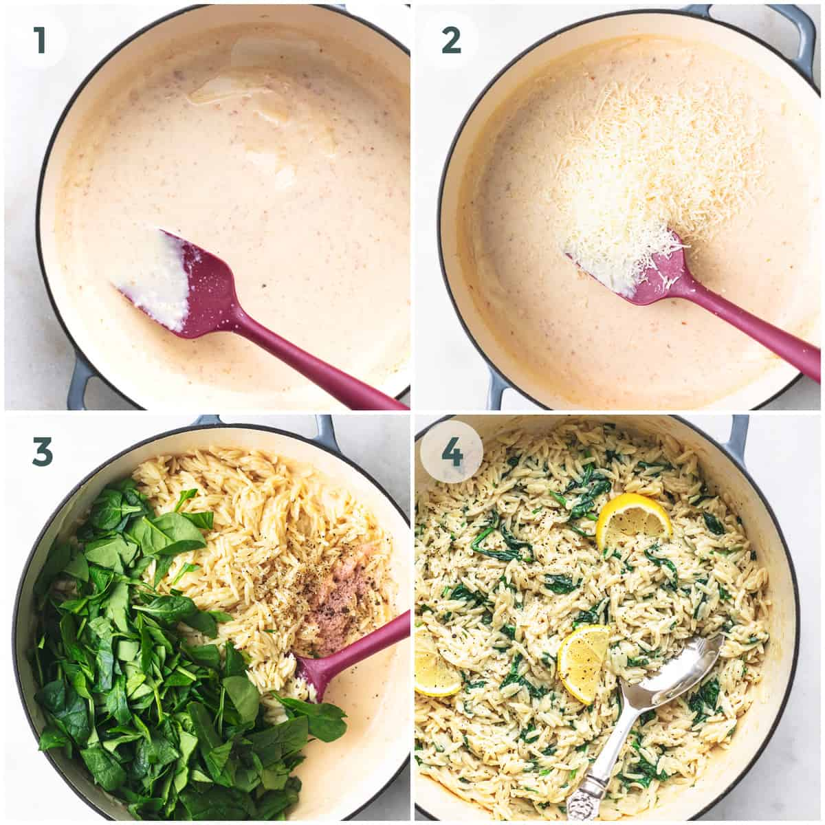 collage of four images showing preparation of cheesy orzo pasta dish