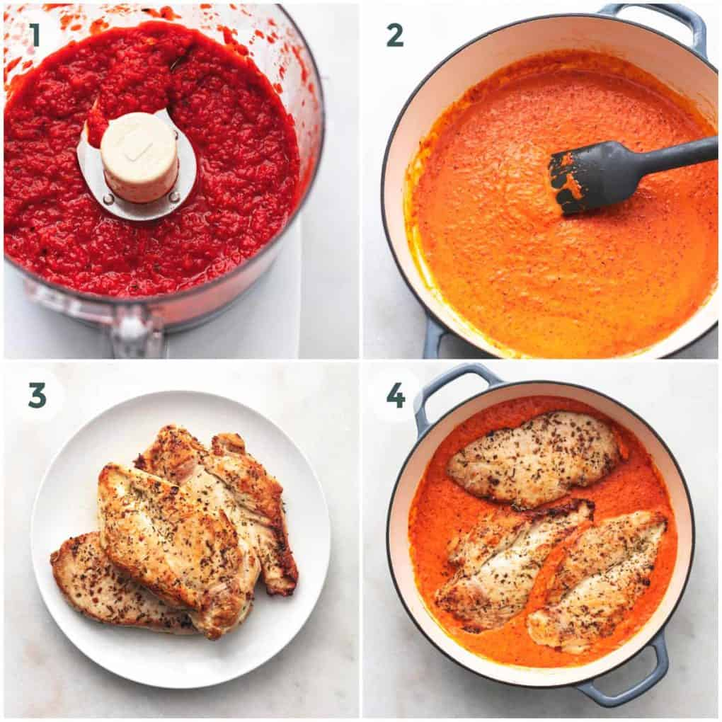 four in-process steps to prepare mediterranean chicken in roasted red pepper sauce