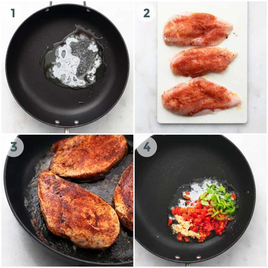 four steps of chicken and rice preparation in skillet