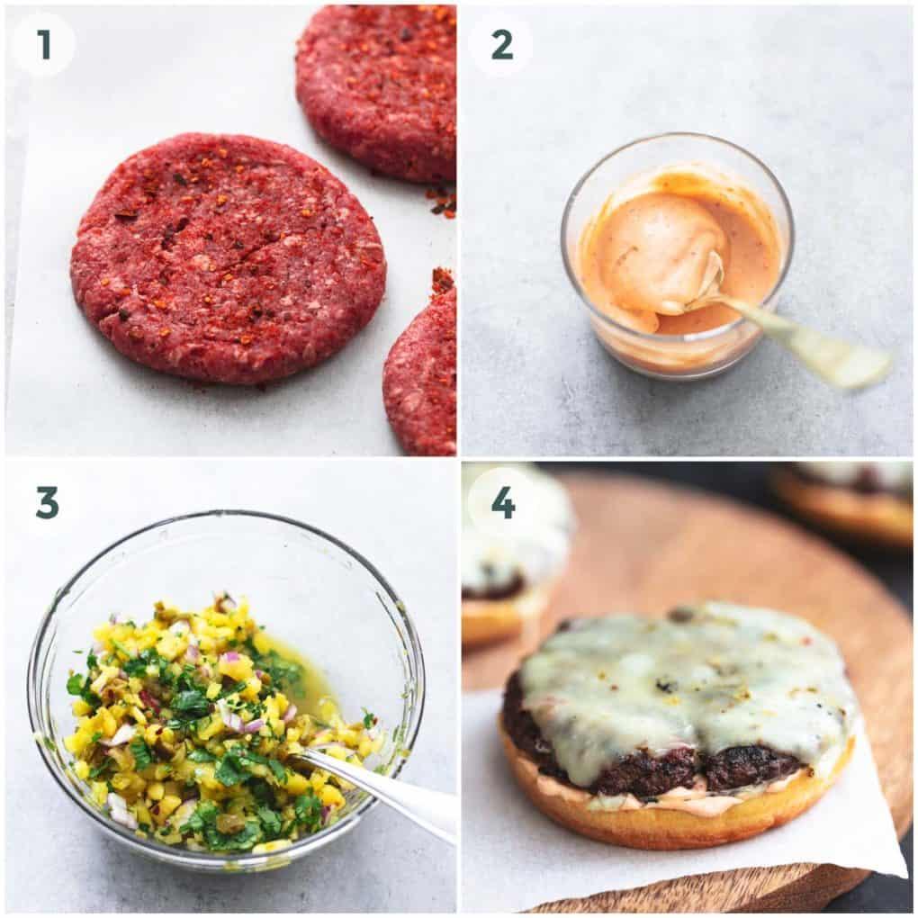 four steps to assemble a hamburger