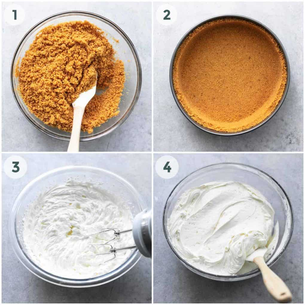 collage of four steps of preparing crust and filling for cheesecake