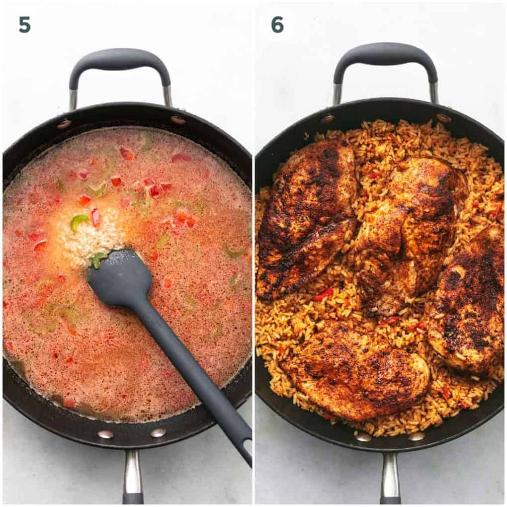 two steps of rice and chicken cooking in a skillet