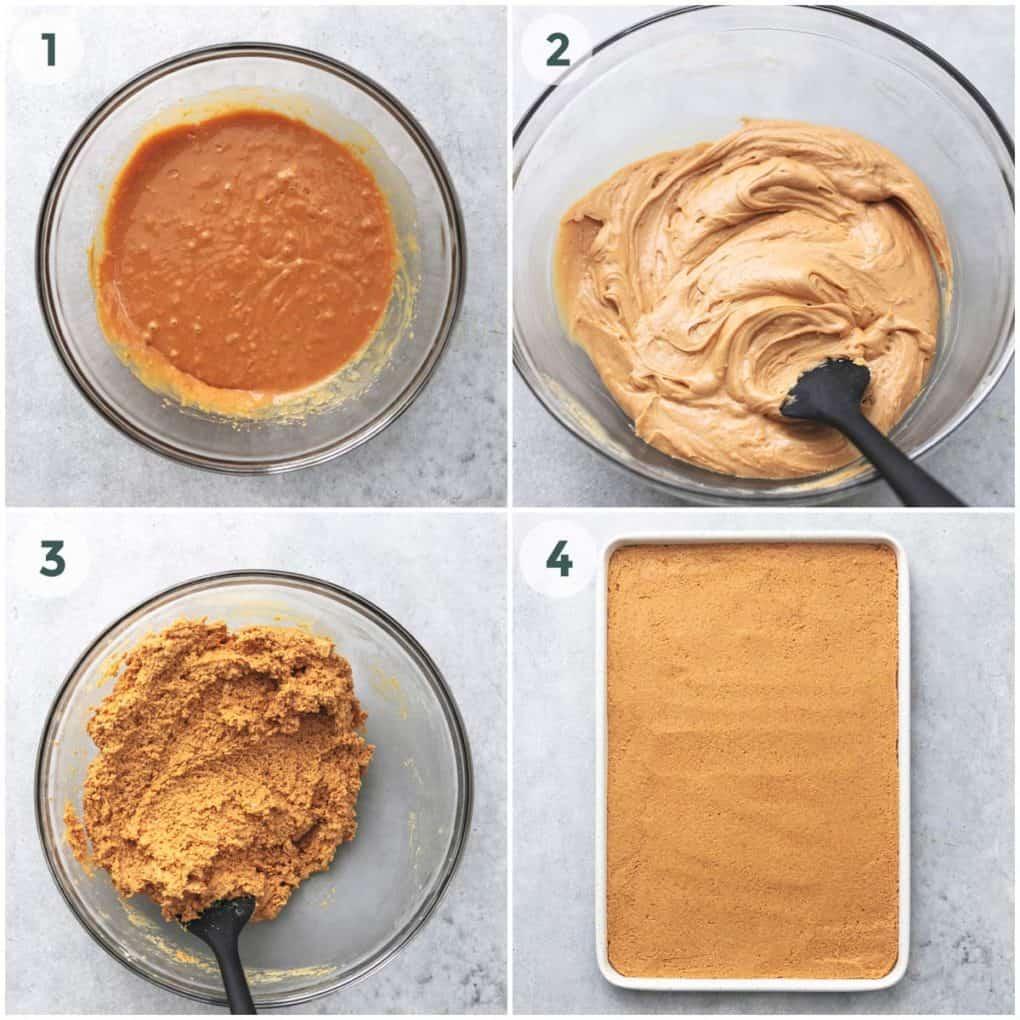four steps of preparation for peanut butter bars base