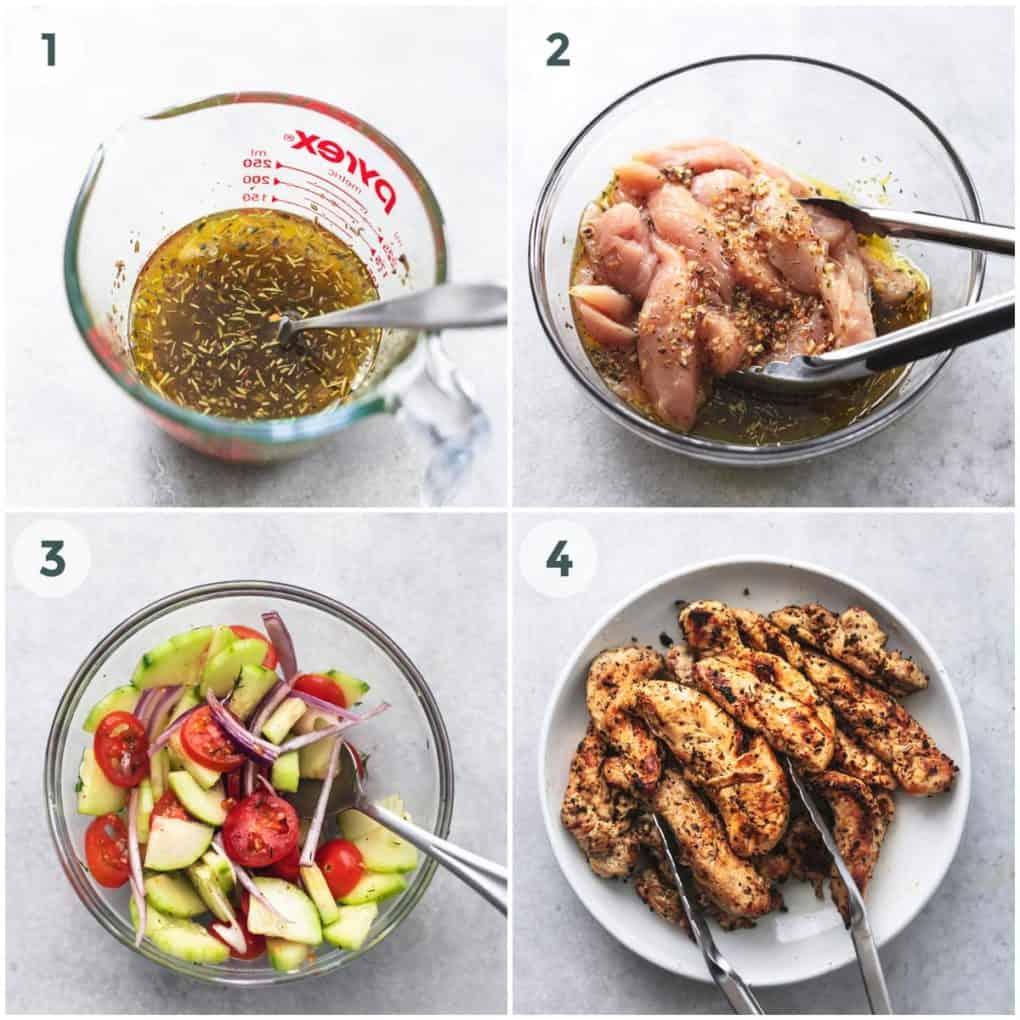 four steps of preparing greek chicken gyros