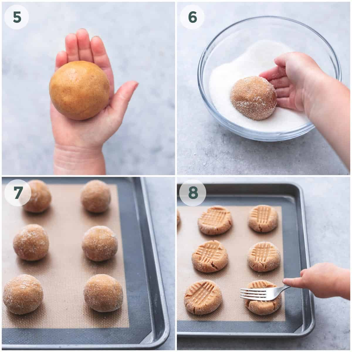 four steps for rolling and smashing peanut butter cookies before baking
