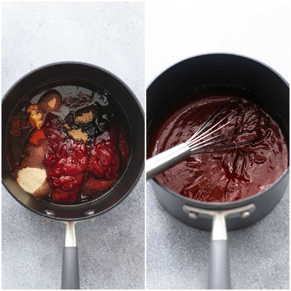 two images side by side of sauce cooking in pot