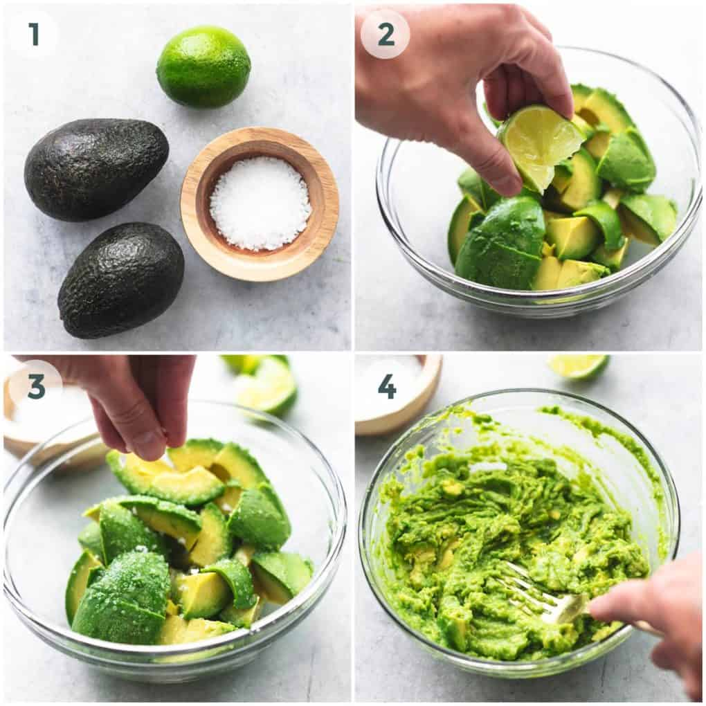 four steps of preparation of guacamole
