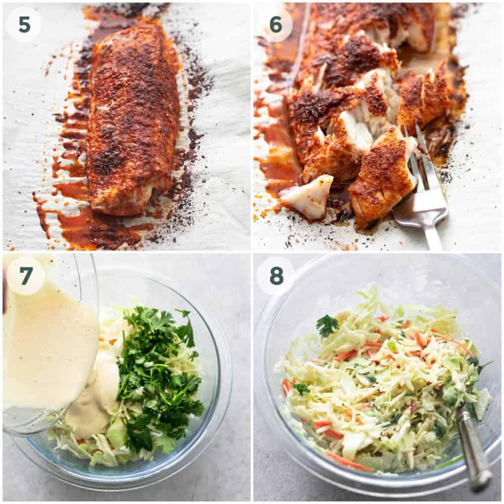 four steps of preparing fish tacos