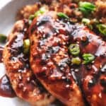 teriyaki chicken with rice on plate