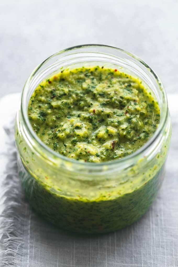 herb sauce in cup on napkin