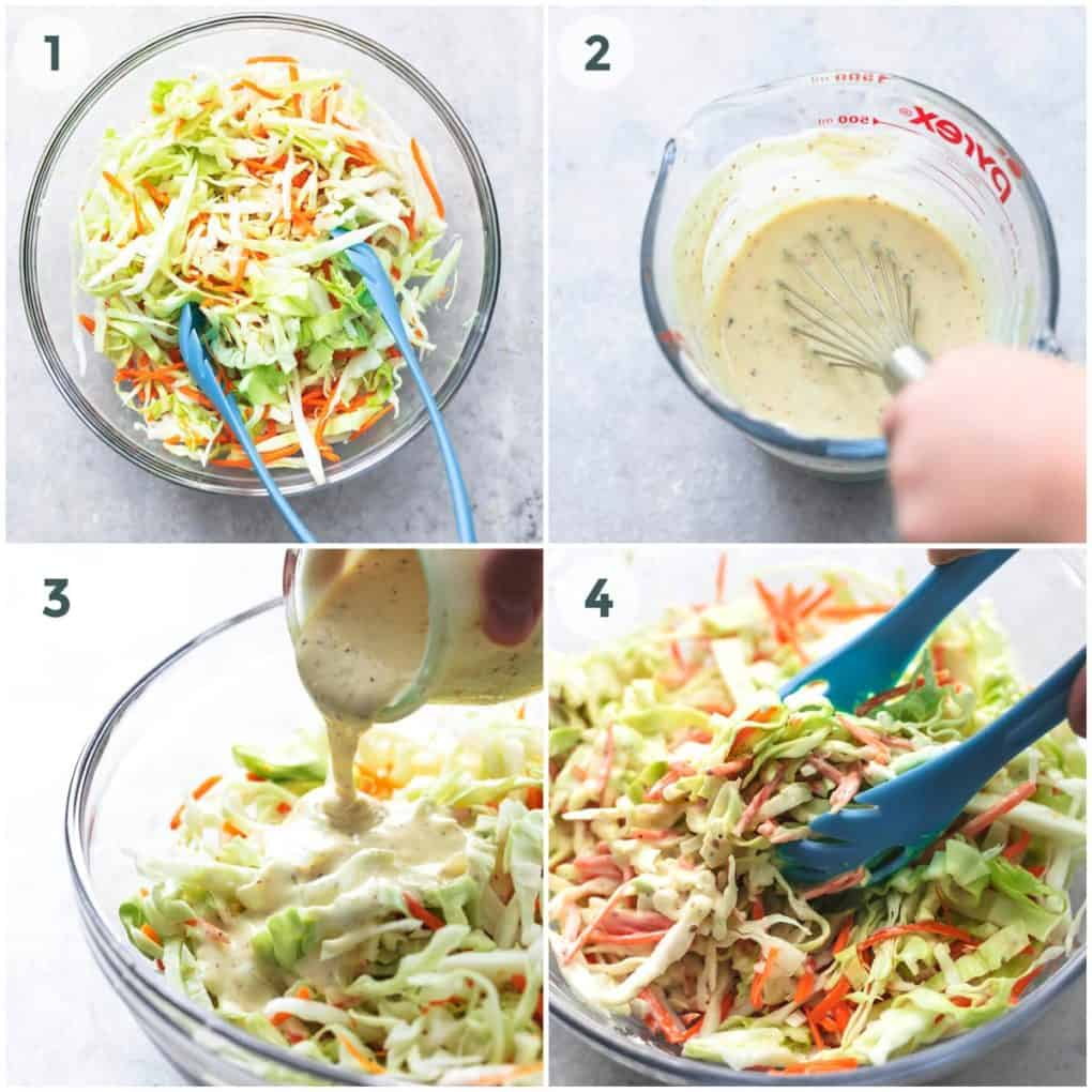 four images showing preparation of cole slaw