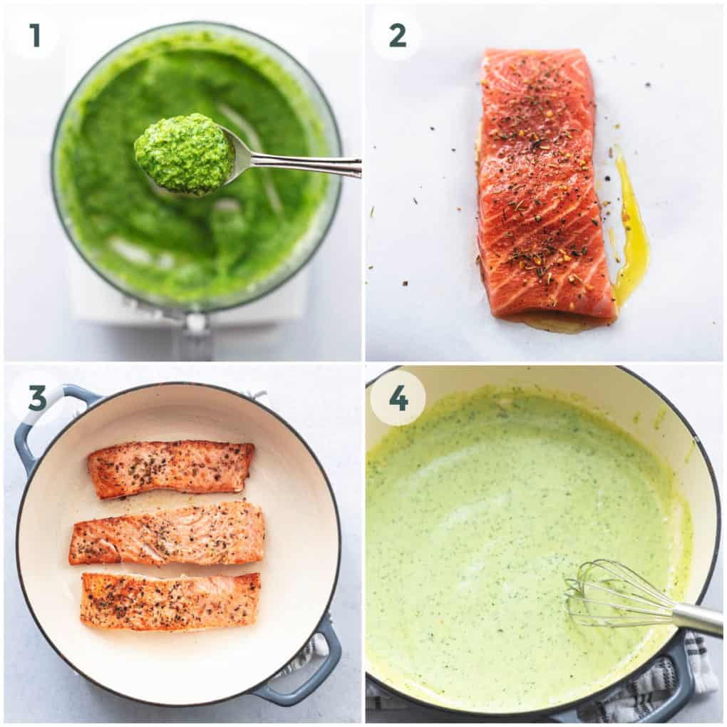 four steps of preparation of skillet salmon