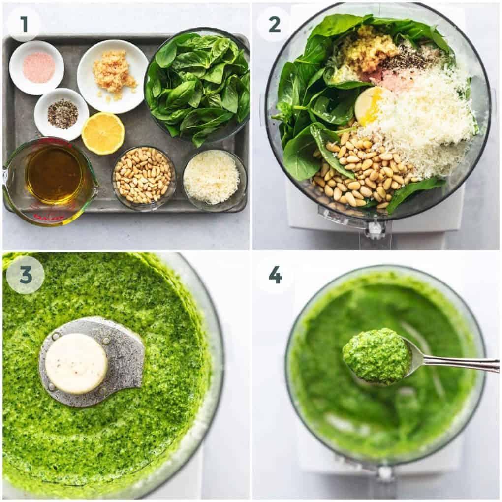 four steps for preparation of pesto