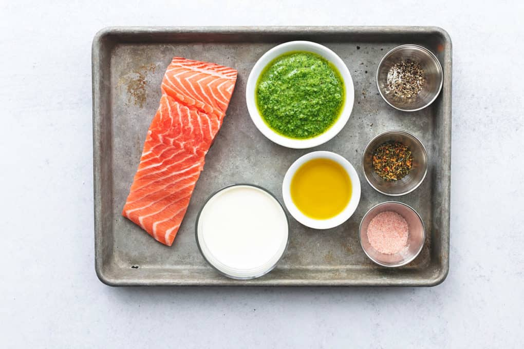 ingredients on a tray for salmon dish
