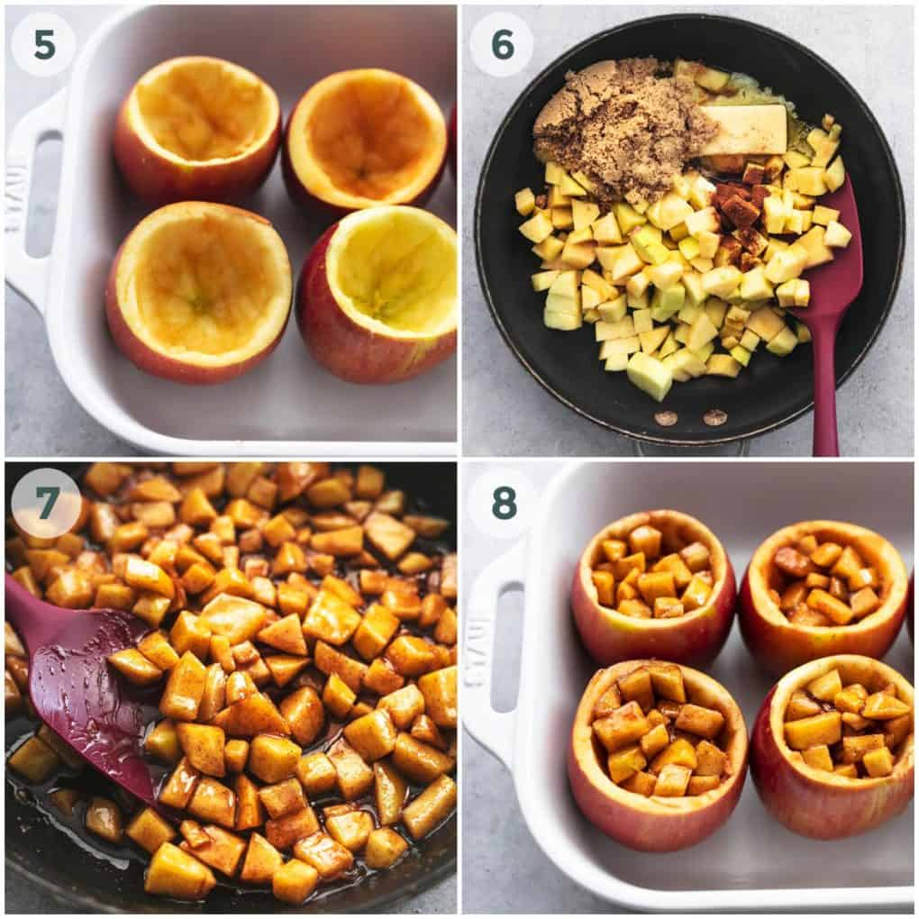 four steps of stuffing apples with apple filling
