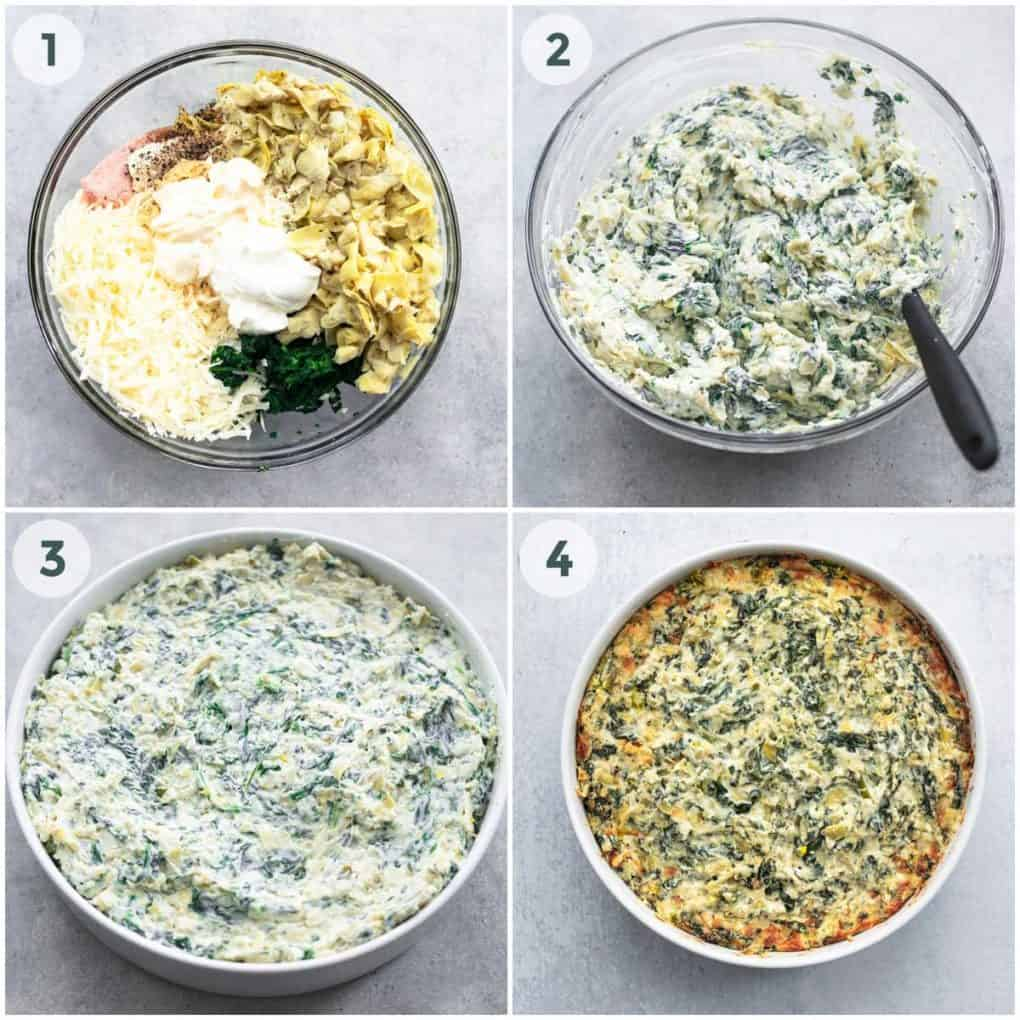 four steps of preparation for spinach artichoke dip