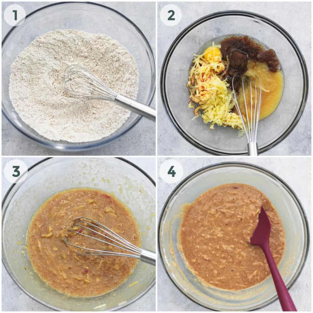 four steps in preparing cake batter