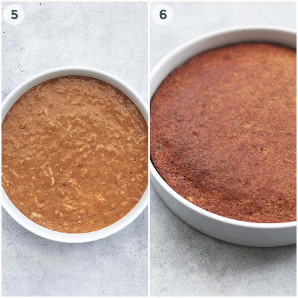 two steps of baking a round cake
