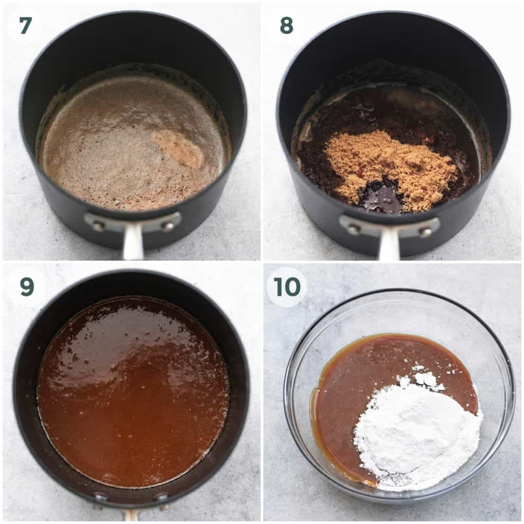 four steps of making brown sugar frosting
