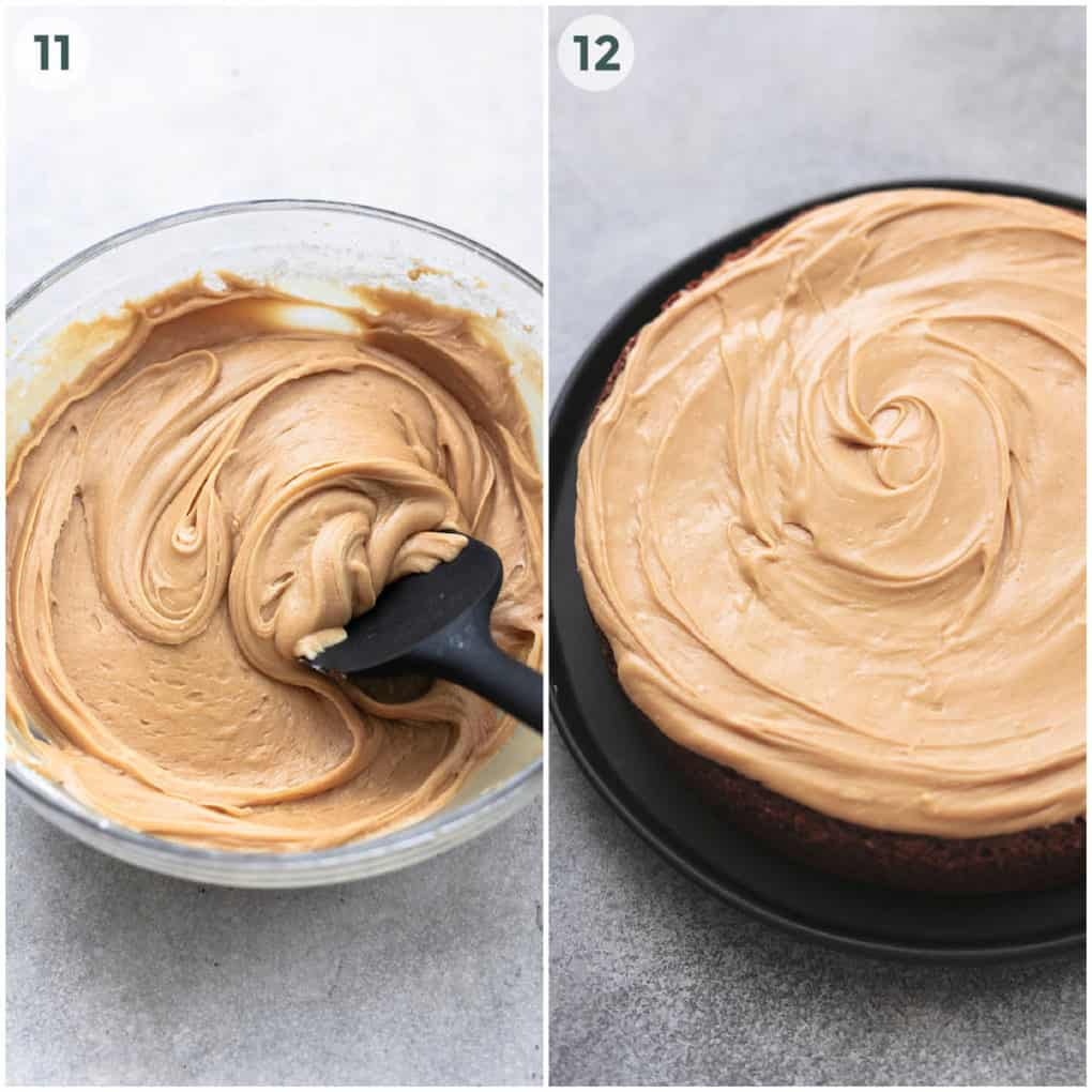 two steps in frosting cake