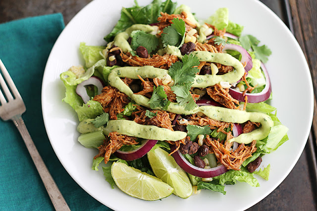 Slow Cooker BBQ Chicken Salad with Creamy Avocado Dressing - Creme De ...